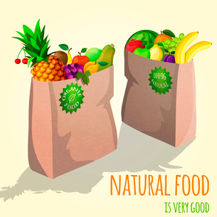 Natural organic fruits in paper shopping bag with lemon pineapple orange cherry vector illustrationのイラスト素材 [FYI03092052]
