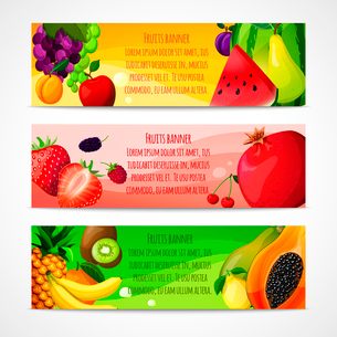 Fresh natural fruit food horizontal banners set with pear apple apricot isolated vector illustrationのイラスト素材 [FYI03092054]