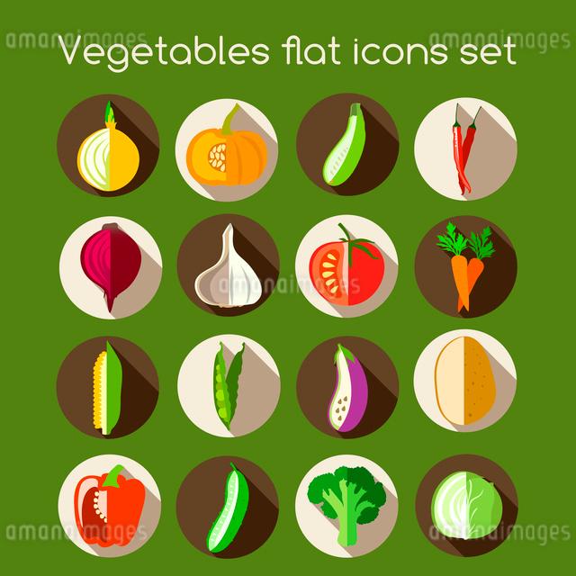 Vegetable organic food flat icons set of onion pumpkin pepper garlic vector illustrationのイラスト素材 [FYI03092055]