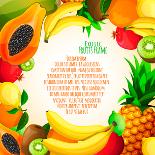 Exotic natural fruit food decorative frame with banana pineapple kiwi orange vector illustrationのイラスト素材 [FYI03092058]