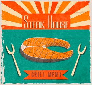 Barbecue retro vintage grill restaurant poster with fish steak vector illustrationのイラスト素材 [FYI03092059]