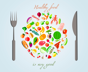 Healthy food plate made of fruits vegetables meat and fish with fork and knife concept vector illustのイラスト素材 [FYI03092060]