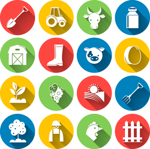 Farming harvesting and agriculture decorative icons set of animals plants tools isolated vector illuのイラスト素材 [FYI03092062]