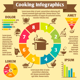 Cooking kitchen and restaurant infographic elements food and utensil icons and charts vector illustrのイラスト素材 [FYI03092065]