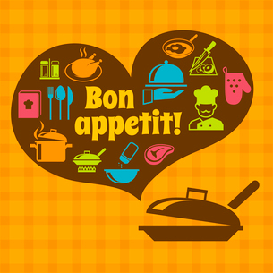 Cooking food kitchen bon appetit poster with pan and restaurant icons vector illustrationのイラスト素材 [FYI03092066]
