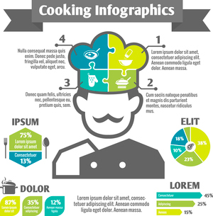 Cooking food kitchen and restaurant infographic elements with chef in hat vector illustrationのイラスト素材 [FYI03092068]