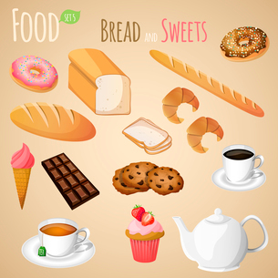 Fresh natural bread and sweets set with tea and coffee cup isolated vector illustrationのイラスト素材 [FYI03092069]