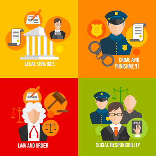 Legal services crime and punishment law and order social responsibility icons set isolated vector ilのイラスト素材 [FYI03092072]