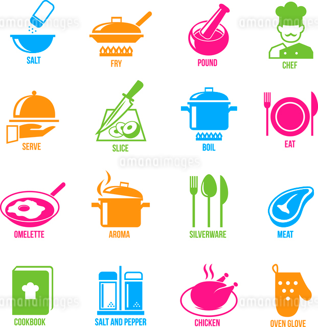 Cooking kitchen and restaurant icons set with salt fry chef serve slice boil  isolated vector illustのイラスト素材 [FYI03092073]