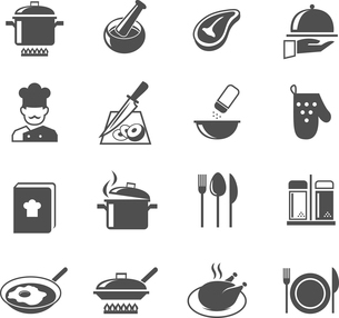 Cooking kitchen and restaurant icons set with utensil chef and food isolated vector illustrationのイラスト素材 [FYI03092074]