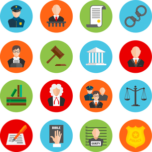 Law legal justice judge and legislation flat icons set isolated vector illustrationのイラスト素材 [FYI03092075]