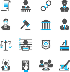 Law legal justice crime and punishment  icons set with handcuff barrister isolated vector illustratiのイラスト素材 [FYI03092079]