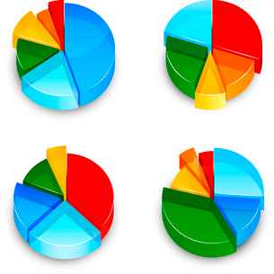 Colored abstract 3d pie chart business infographic element isolated icons set vector illustrationのイラスト素材 [FYI03092081]