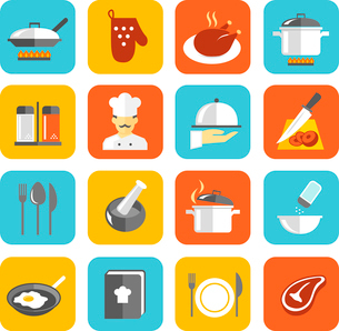 Cooking kitchen and restaurant flat icons set with pan glove chicken chef isolated vector illustratiのイラスト素材 [FYI03092086]