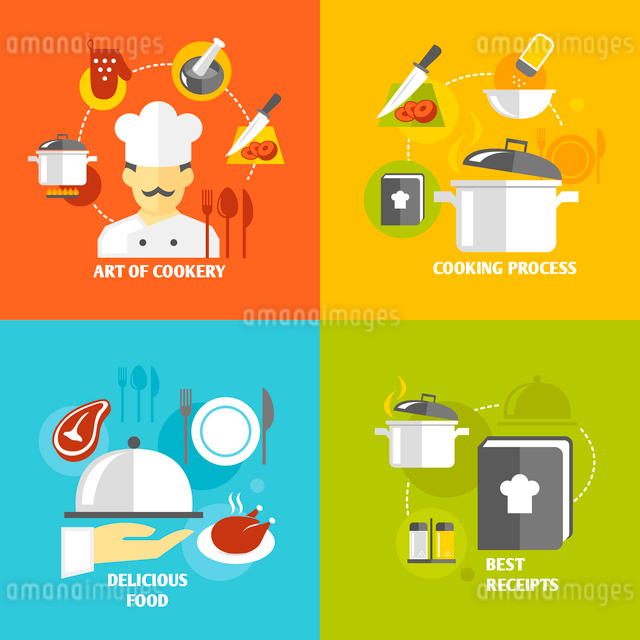 Art of cookery cooking process delicious food best recipes decorative icons set isolated vector illuのイラスト素材 [FYI03092087]