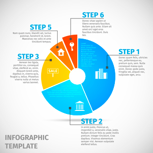 Colored abstract flat pie chart real estate infographic template vector illustrationのイラスト素材 [FYI03092090]