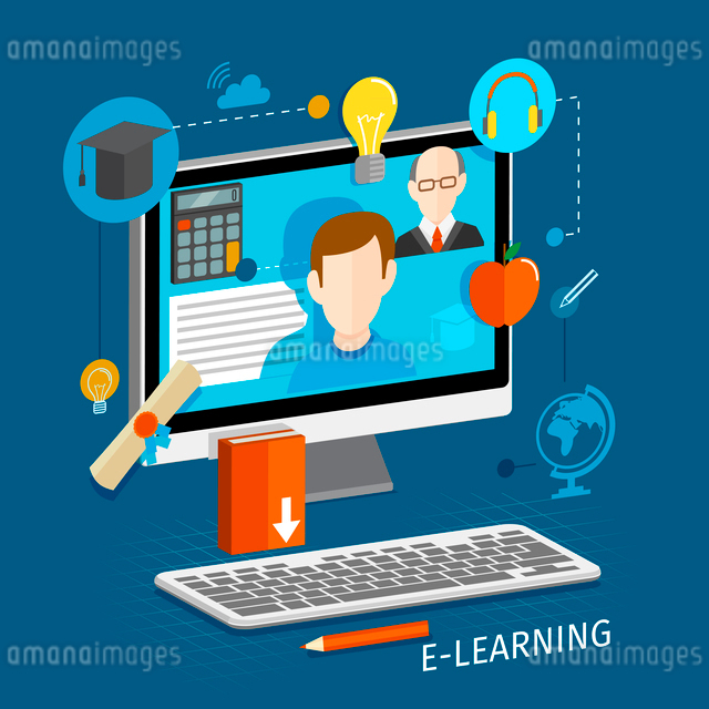 Education school university e-learning flat poster with monitor and icons set vector illustrationのイラスト素材 [FYI03092096]