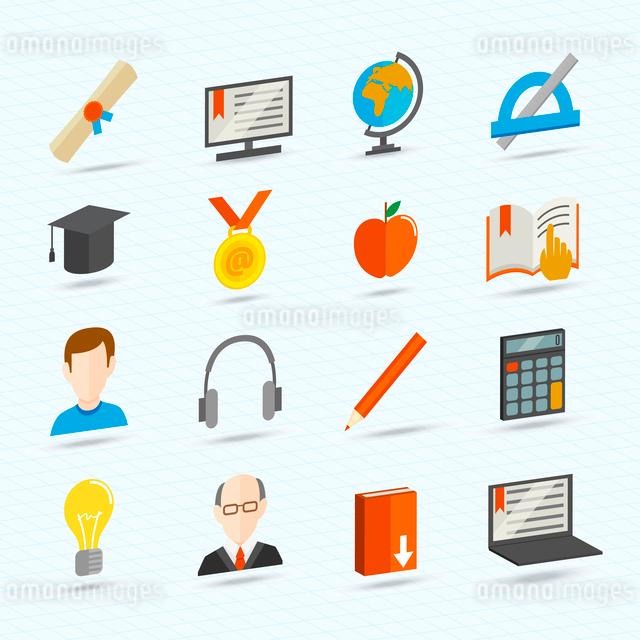 Education school university e-learning flat icons set isolated vector illustrationのイラスト素材 [FYI03092097]