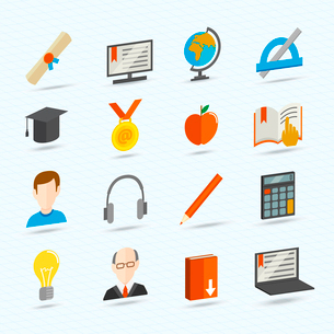 Education school university e-learning flat icons set isolated vector illustrationのイラスト素材 [FYI03092097]