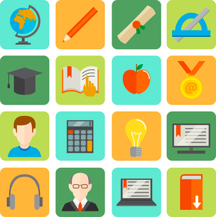E-learning online learning knowledge and experience flat icons set isolated vector illustrationのイラスト素材 [FYI03092098]