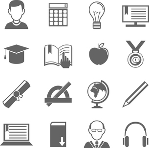 Education school university e-learning black and white icons set with science elements isolated vectのイラスト素材 [FYI03092099]