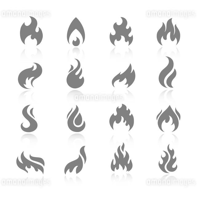 Fire flame burn flare torch shadow icons set isolated vector illustrationのイラスト素材 [FYI03092100]