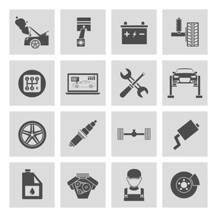 Auto car service icons set of battery tires wheel engine brake repair isolated vector illustration.のイラスト素材 [FYI03092101]