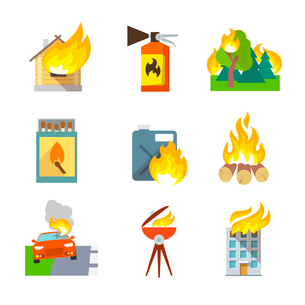Fire protection icons set of house forest car accidents isolated vector illustrationのイラスト素材 [FYI03092103]