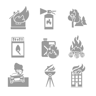 Fire protection black and white icons set of house forest car accidents isolated vector illustrationのイラスト素材 [FYI03092105]