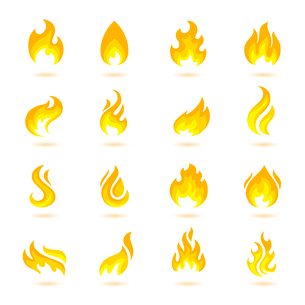 Fire flame burn flare torch hell fiery icons set isolated vector illustrationのイラスト素材 [FYI03092106]