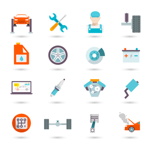 Auto mechanic car service transport work and maintenance icons isolated vector illustrationのイラスト素材 [FYI03092109]
