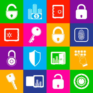 Business banking finance protection security lock icons  set of open and closed safes vector illustrのイラスト素材 [FYI03092111]