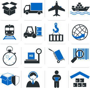 Logistic service icons and shipping elements set of vector illustrationのイラスト素材 [FYI03092113]