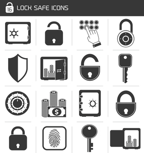 Business banking finance lock safe icons  set of cash hand system padlock isolated vector illustratiのイラスト素材 [FYI03092114]