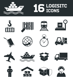 Logistic shipping cargo global export chain icons set vector illustrationのイラスト素材 [FYI03092115]