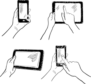 Hand gestures holding smartphone tablet touchscreen sketch set isolated vector illustrationのイラスト素材 [FYI03092118]