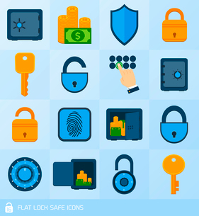 Business banking finance lock safe decorative icons  set isolated vector illustrationのイラスト素材 [FYI03092119]
