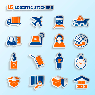 Logistic package transportation global urgent delivery stickers set vector illustrationのイラスト素材 [FYI03092120]