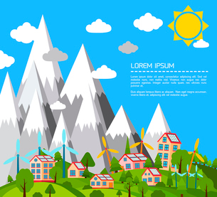 Green eco world concept poster with mountain village and windmills  vector illustrationのイラスト素材 [FYI03092126]