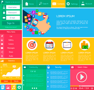 Flat website design template internet and applications layout elements vector illustrationのイラスト素材 [FYI03092131]