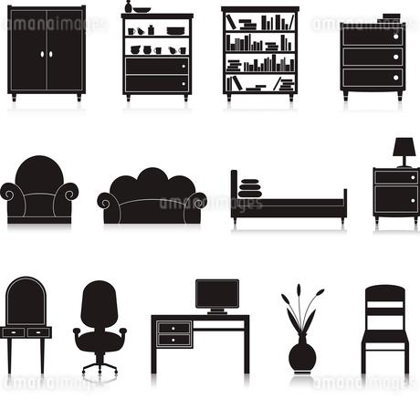 Furniture black decorative icons set of wardrobe bookshelf computer table isolated vector illustratiのイラスト素材 [FYI03092132]