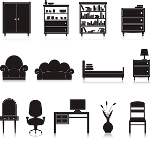 Furniture black decorative icons set of wardrobe bookshelf computer table isolated vector illustratiのイラスト素材 [FYI03092132]