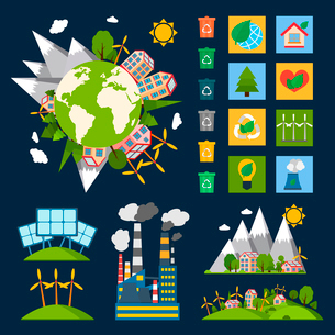 Green eco world ecology symbols set with globe recycling energy and nature icons vector illustrationのイラスト素材 [FYI03092135]