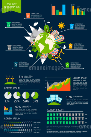 Ecology environmentally friendly energy planet infographic set with graphs and charts vector illustrのイラスト素材 [FYI03092136]