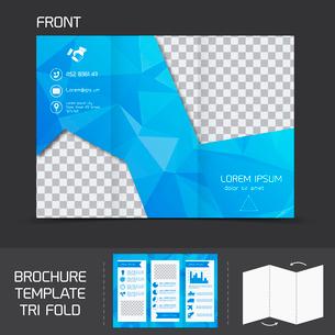 Blue technology brochure leaflet design template tri-fold marketing flyer vector illustrationのイラスト素材 [FYI03092138]