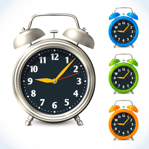 Vintage old style color and metal alarm clock watch set isolated vector illustrationのイラスト素材 [FYI03092148]