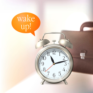 Alarm clock and briefcase business wake up background vector illustrationのイラスト素材 [FYI03092151]