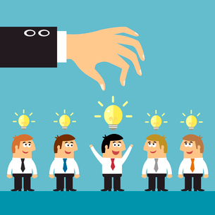 Business ideas selection concepts with human staff and lightbulbs symbols vector illustrationのイラスト素材 [FYI03092154]