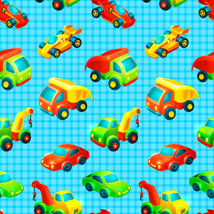 Toy transport decorative seamless pattern with truck racing car auto isolated vector illustrationのイラスト素材 [FYI03092155]