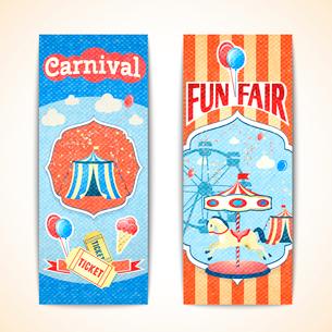 Amusement entertainment carnival theme park fun fair vintage vertical banners isolated vector illustのイラスト素材 [FYI03092157]